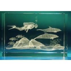 Glaswerk duiker met dolfijnen